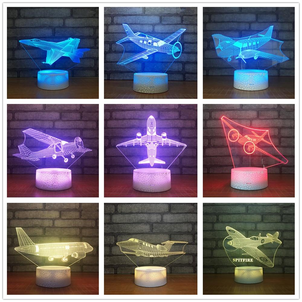 La aviación fan avión 7 Color Lámpara 3D Led noche luces niños táctil USB de los siguientes modelos bebé luz Aircarft