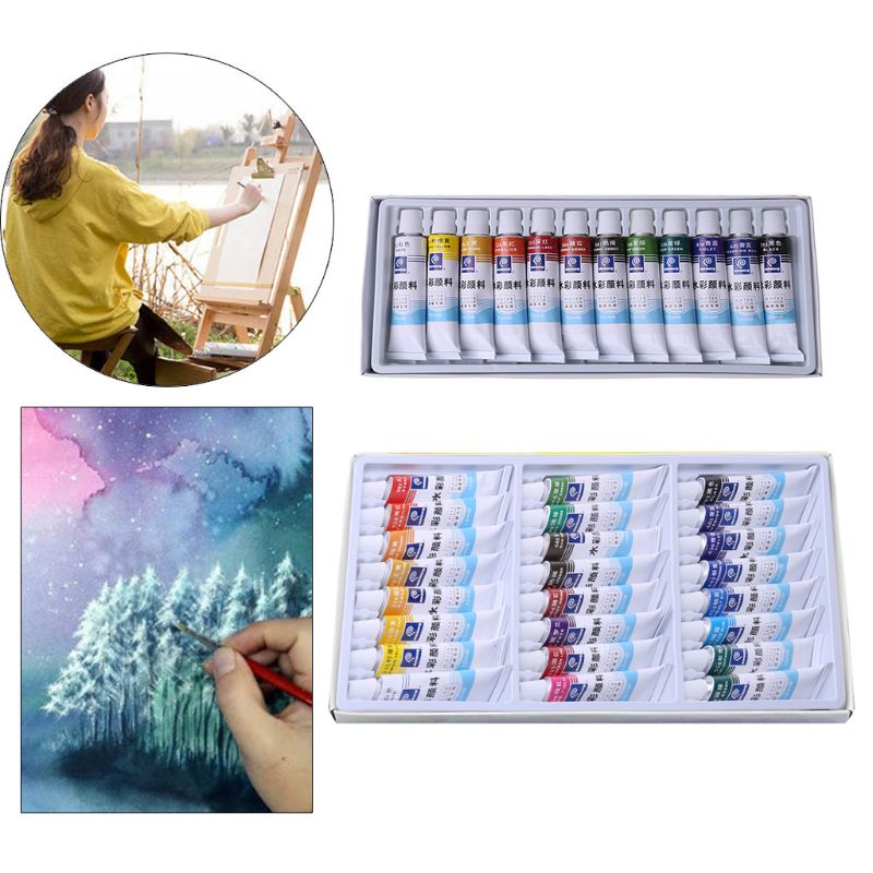 12ml 12/24 Colors Professional Paint Tubes Drawing Painting Watercolor Pigment