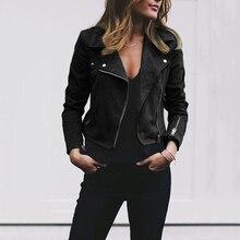 Women Faux Leather Elegant Zipper Basic Jacket Women Outwear Solid Slim Long Sleeve Turn-down Collar
