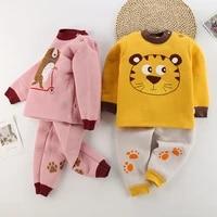 newborn 12m 4t winter warm underwear clothing 2 piece set cotton printing cartoon pulloverpants baby boys girls outfits