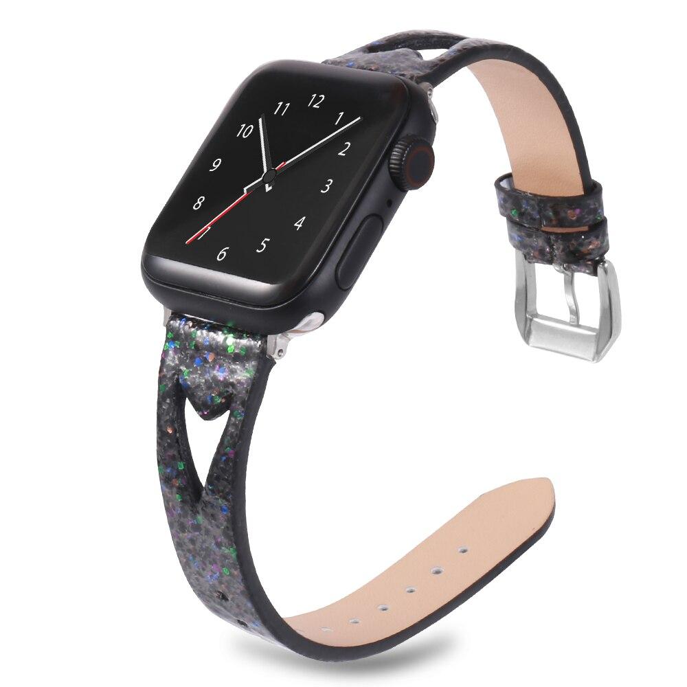 Pulseira de couro para apple watch band 40mm 44mm iwatch faixa 38mm 42mm brilhante pulseira de couro genuíno apple watch 4 3 2 1 acessórios