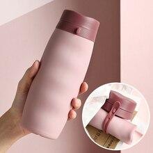 Taza de silicona plegable rizada, taza de café plegable telescópica de silicona portátil para deportes, taza de viaje plegable multifunción