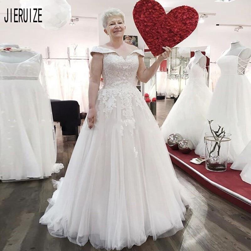 JIERUIZE Mother Wedding Dresses Off the Shoulder White Appliques Lace Up Back Bridal Gowns Modern Wedding Gowns vestido de novia