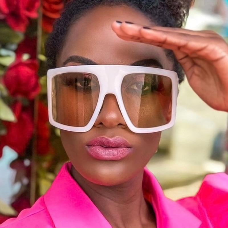 Fashion Sunglasses Women Vintage Luxury Large Flat Top Sun Glasses Brand Pink Square New Oversized G