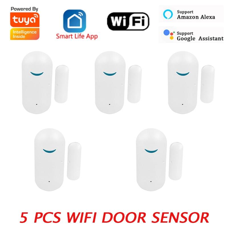 Датчик Безопасности Tuya Smart Life, Wi-Fi датчик для дверей и окон, с оповещением об уведомлениях, с поддержкой Alexa, Google Home