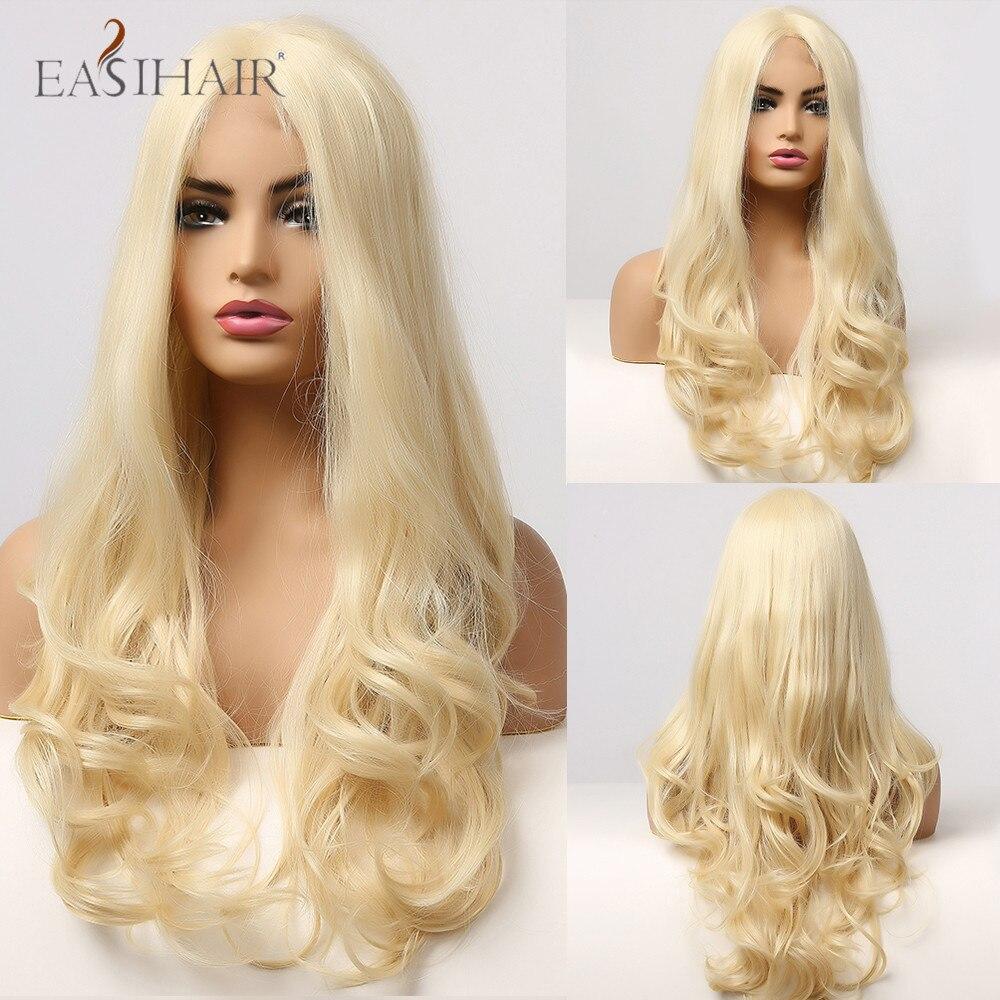 perucas loiras longas de renda mel loira onda do corpo com cabelo de bebe cosplay