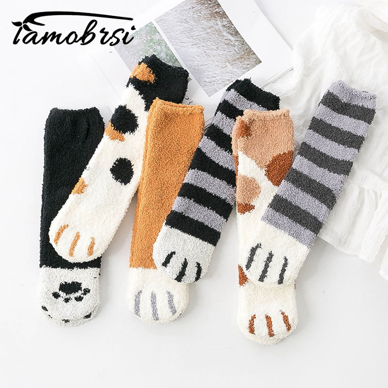 Animal Claws Coral Velvet Socks Winter Kawaii Thick Striped Cartoon Women Socks Fuzzy Fluffy Terry Warm Socks Short Cute Socks