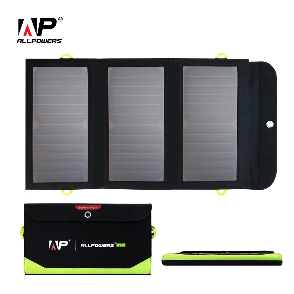ALLPOWERS Portable Outdoors Solar Panel 5V 21W Built-in 10000mAh Mobile Power Bank Camping Foldable Solar Cells USB Charger