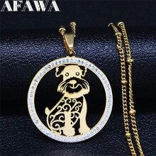 2021 sznaucer ze stali nierdzewnej kryształowe wiszące naszyjniki kobiety złoty kolor wisiorek z motywem zwierzęcym naszyjnik biżuteria cadenas mujer NXS03