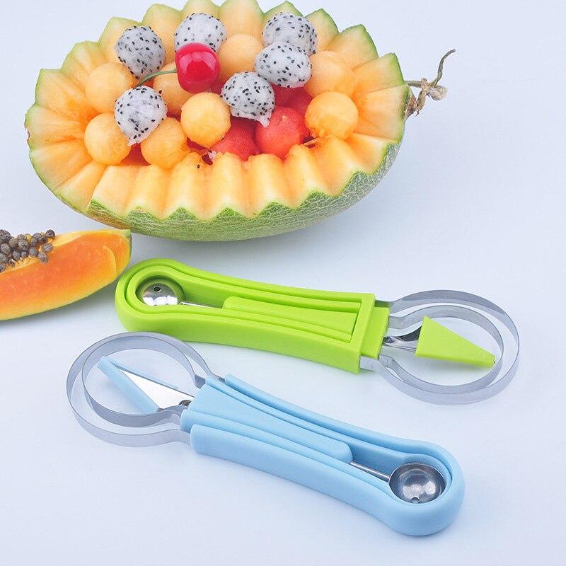 Juego de 3 unidades de cuchillos para tallar fruta Diy, bolas de sandía, cucharas para fruta, cortador para esculpir, juego de helados, cuchara, cuchara, utensilios de cocina