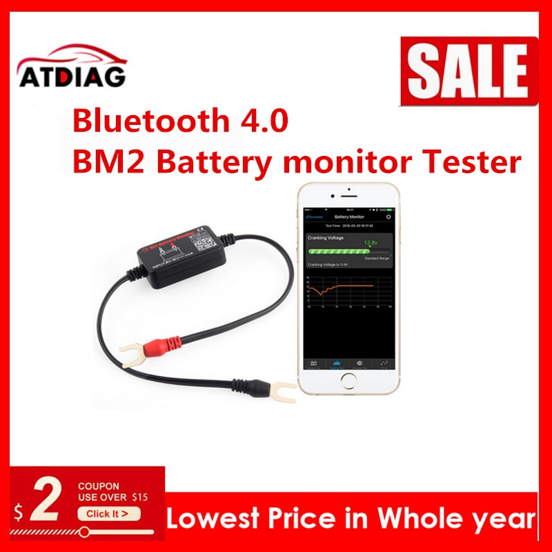 Herramienta de diagnóstico del probador del monitor de la batería de 12V Bluetooth 4,0 BM2 para Android IOS unidades de medida de la batería del analizador Digital del iphone