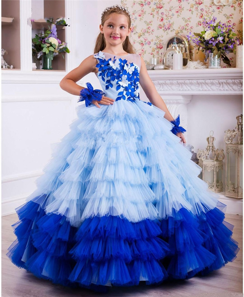 Girls Blue Puffy Princess Ball Gowns Blue Lace Applique Ruffle Tiered Girls Pageant Gowns Celebrity Birthday Dress Custom