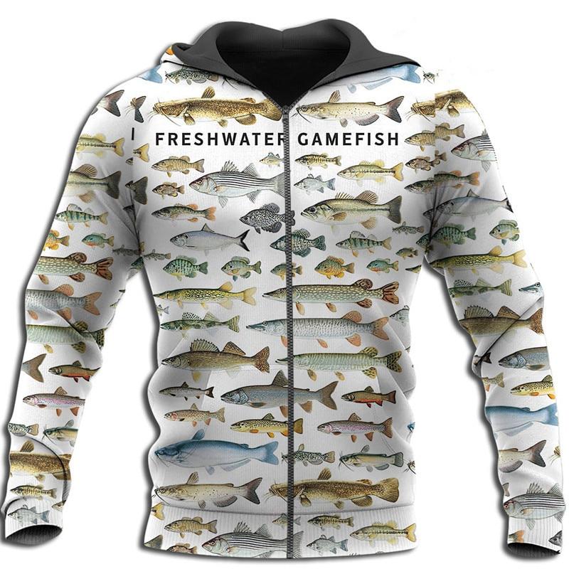 Пресноводных рыб 3D все напечатано, мужская куртка на молнии в стиле унисекс повседневные кофты осень-зима модные худи
