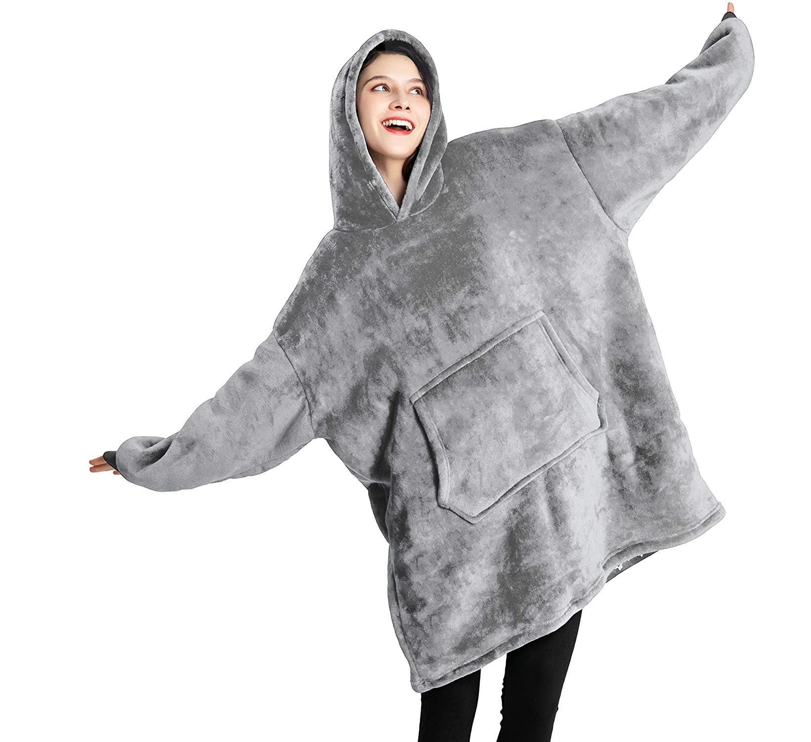 بطانية البلوز هوديي بطانية المتضخم لبس بطانية بأكمام دافئ بطانية الشتاء للنساء الرجال حجم واحد يناسب الجميع