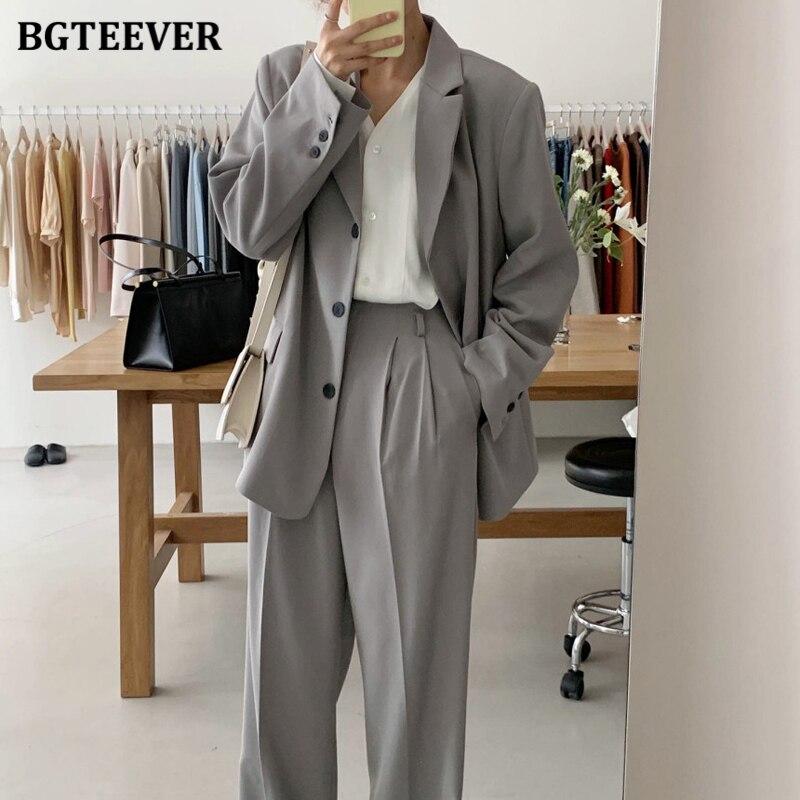 BGTEEVER-طقم بدلة بليزر نسائي ، بدلة أنيقة بصدر واحد ، جاكيت وسروال فضفاض عالي الخصر ، بنطلون غير رسمي ، شتاء 2020