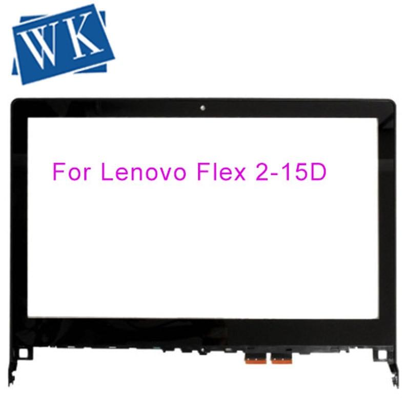 "15,6 ""para Lenovo Flex 2 15 2-15 2-15D ordenador portátil pantalla táctil digitalizador vidrio lente piezas de repuesto con marco"
