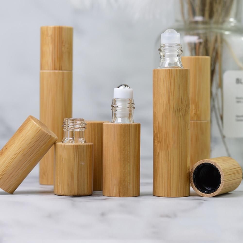 Nueva botella de madera de bambú para Perfume, botella vacía de aceite, botella de Perfume de bola enrollable de acero inoxidable, botella de aromaterapia, rodillo de aceite