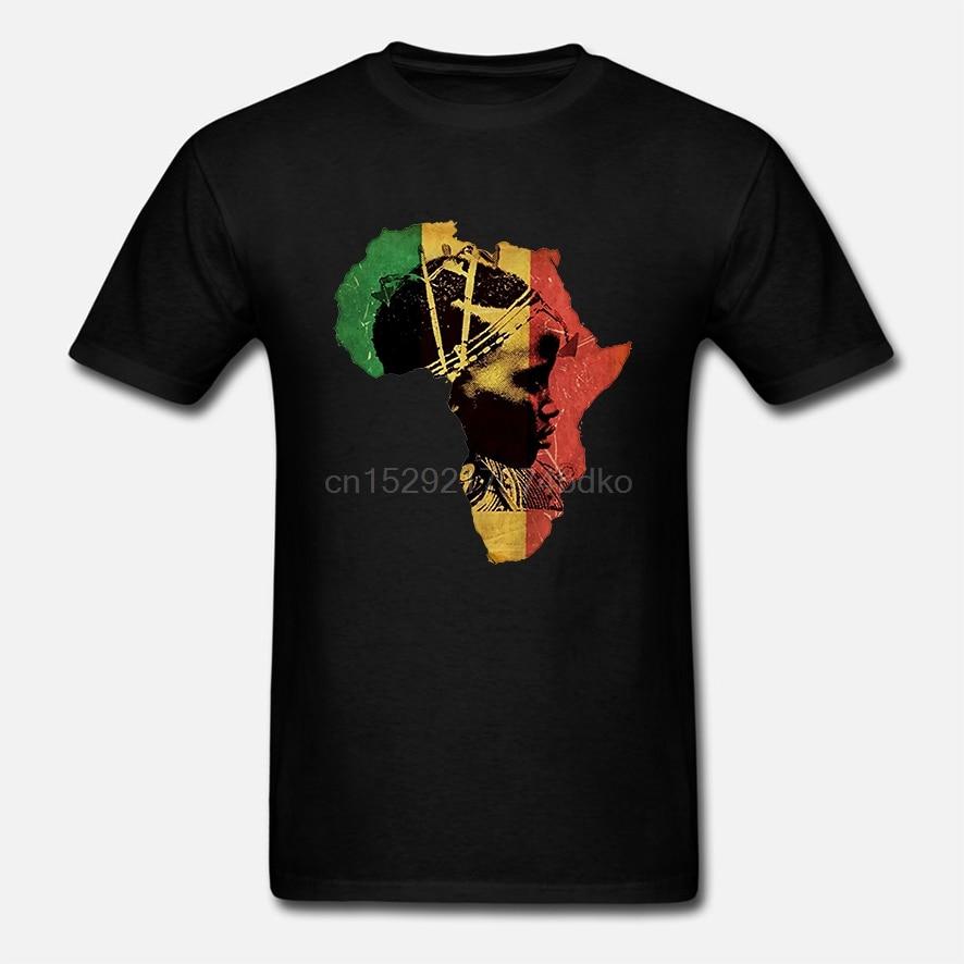 Camiseta de cuello redondo Hipster camiseta Homme África camiseta mapa africano algodón Tee negro historia Haile Selassie I JS verano