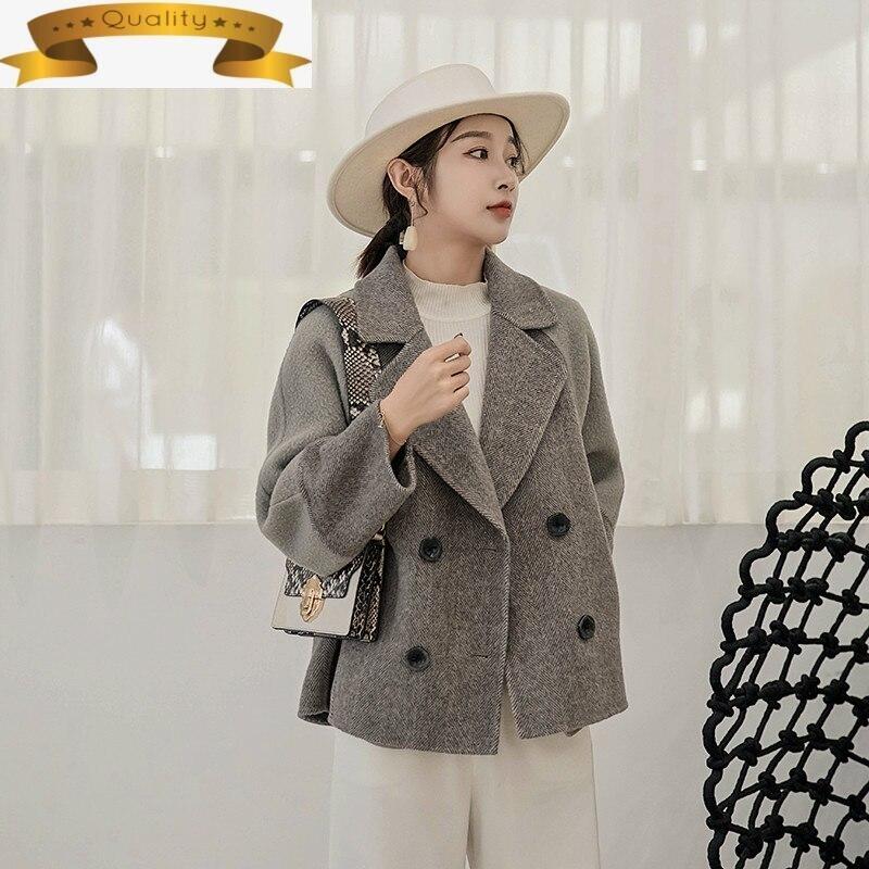 Abrigo con doble botonadura de lana para mujer, abrigo corto de gran...