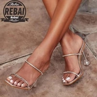 summer 2021 new womans summer high heel slippers open toe outdoor sandals rhinestones fashion sexy solid color plus size 43