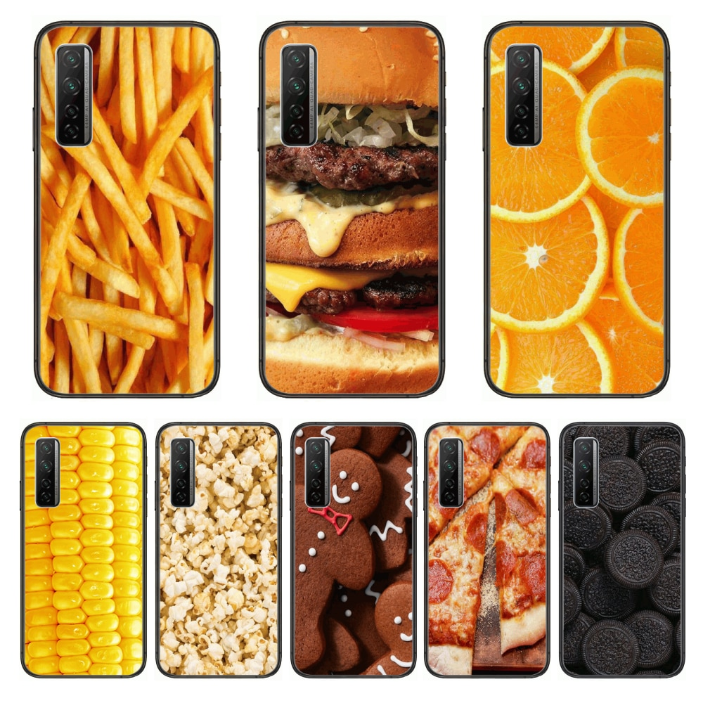 Food Hamburger French fries  Phone Case For Huawei Nova p10 lite 7 6 5 4 3 Pro i p Smart ZBlack Etui 3D Coque Painting Hoesje