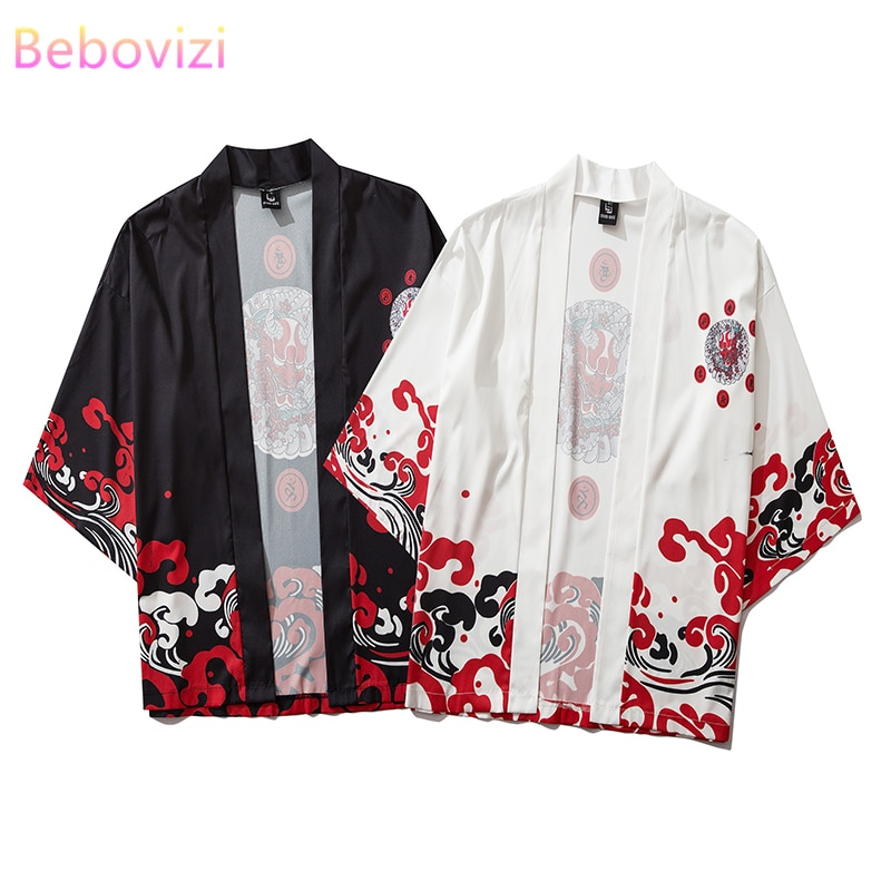 17 Style Harajuku Japanese Fashion Kimono 2020 White Black Men and Women Cardigan Blouse Haori Obi Asian Clothes Samurai