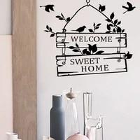 Autocollants muraux de bienvenue en vinyle  1 piece  decoration de maison  signe de porte  oiseau  fleur  vigne  Art Mural