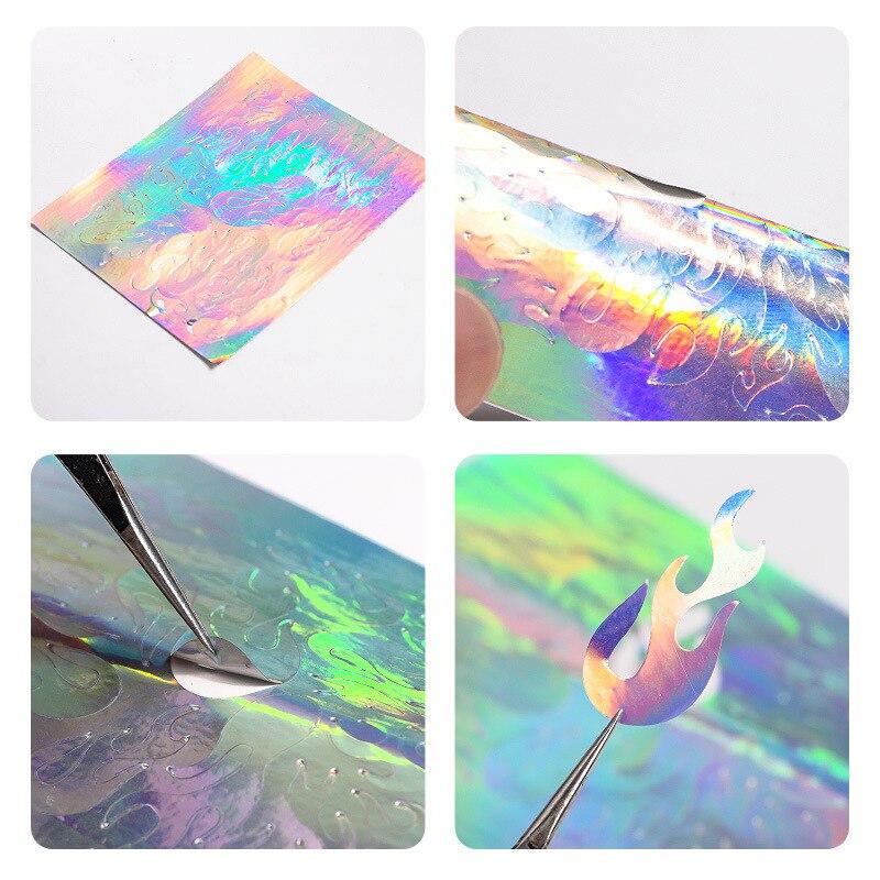 Lote de 2 unidades de pegatinas holográficas para uñas, cinta adhesiva delgada para decoración de uñas, pegatina de raya plateada láser, pegatina de lámina DIY Z0211