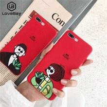 Lovebay Téléphone étui pour iphone 11 6 6s 7 8 Plus X XR XS 11 Pro Max Belle Bande Dessinée Cool Couples Face étui arrière souple en silicone or polyuréthane thermoplastique