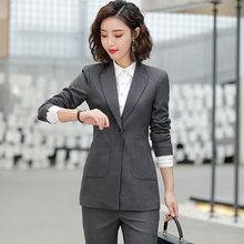 Suit suit female professional wear 2019 new interview suit ladies temperament long-sleeved suit suit female overalls Two-piece