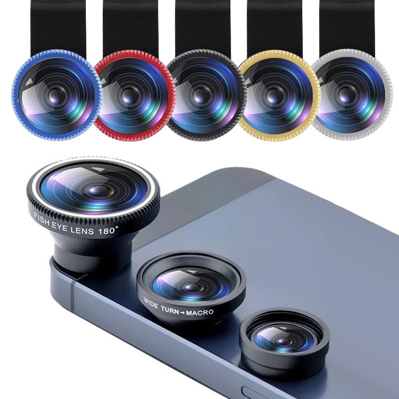 2020 3-in-1 Wide Angle Macro Fisheye Lens Camera Kits Mobile Phone Fish Eye Lenses With Clip 0.67x F