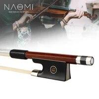 naomi 44 brazilwood violin bow octagonal stick sheepskin grip and silver wire winding ebony frog paris eye inlay