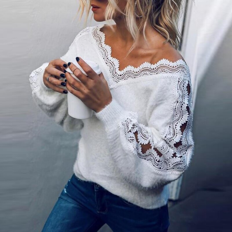 Nova camisola de malha feminina casual manga comprida blusas topos primavera outono malha jumper pulôver branco camisola puxar femme S-XL