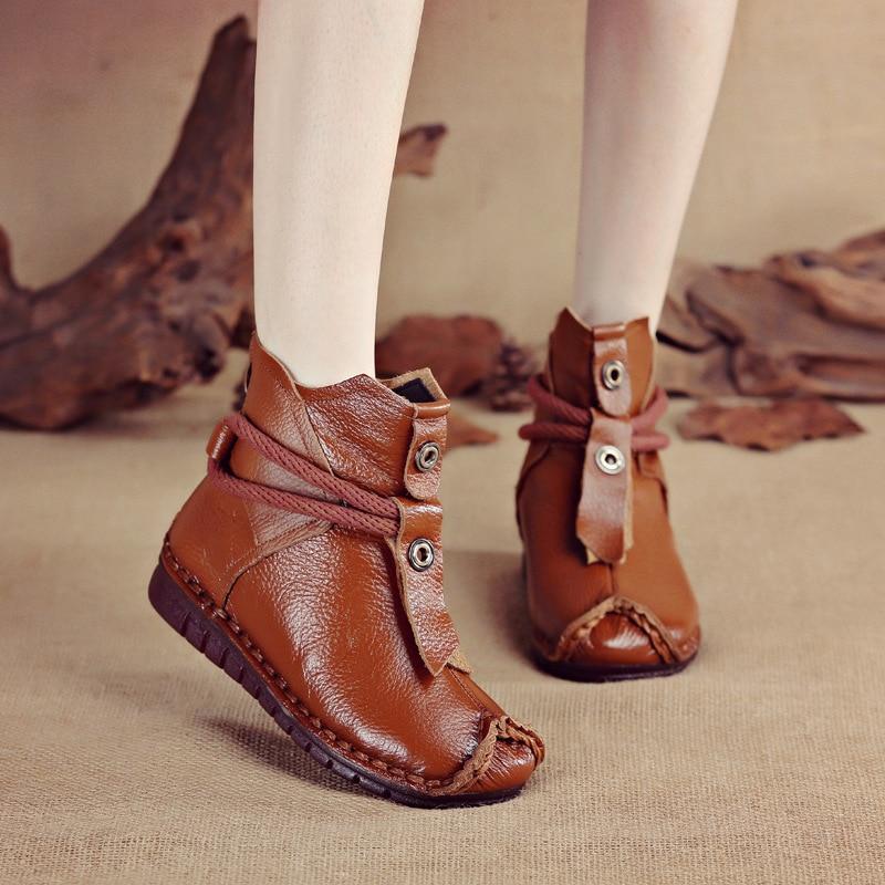 أحذية مارتن للسيدات, أحذية الخريف والشتاء المسطحة الثلوج خمر الجوارب النساء مارتن الأحذية لينة جلد طبيعي حذاء من الجلد