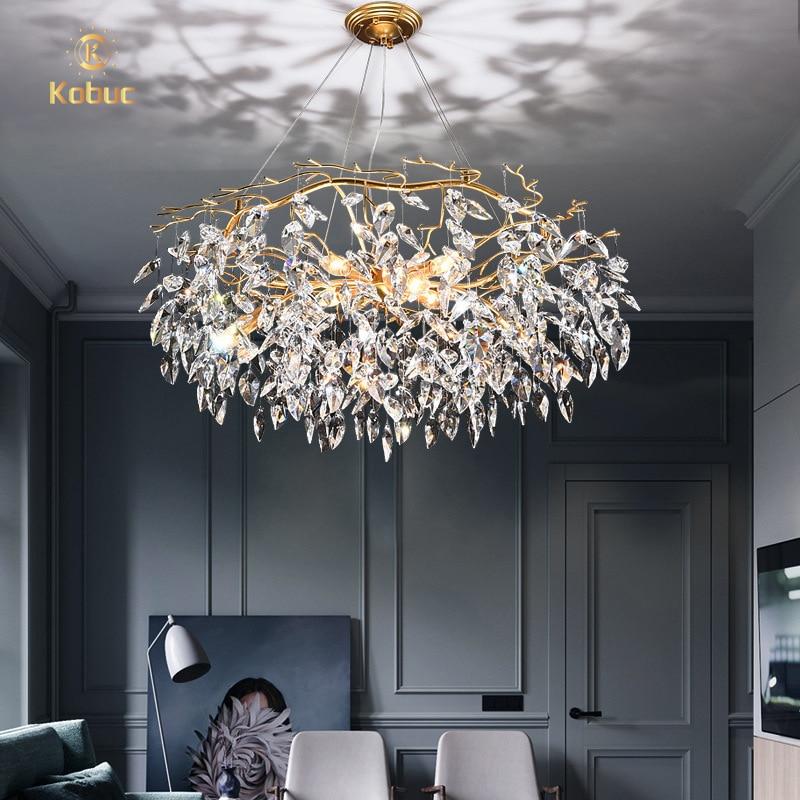 Kobuc Modern LED Crystal Chandelier Lighting Luxury Home Decor Chandelier Lamp Living Room Hanglamp K9 Crystal Lobby Lighting