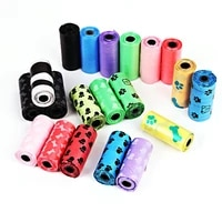1pc pet garbage bag cute printed dogs going out picking up poop bags clean and environmentally friendly pet supplies 15pcsroll