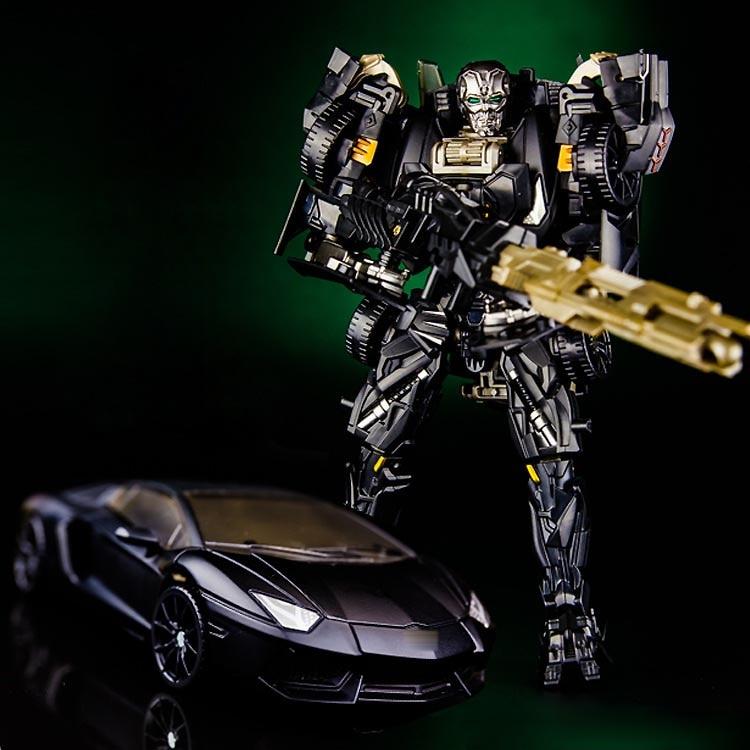 Robot de juguete para niños con figura de acción de Metal de aleación de modelos de película de coche de bloqueo negro de transformación KBB