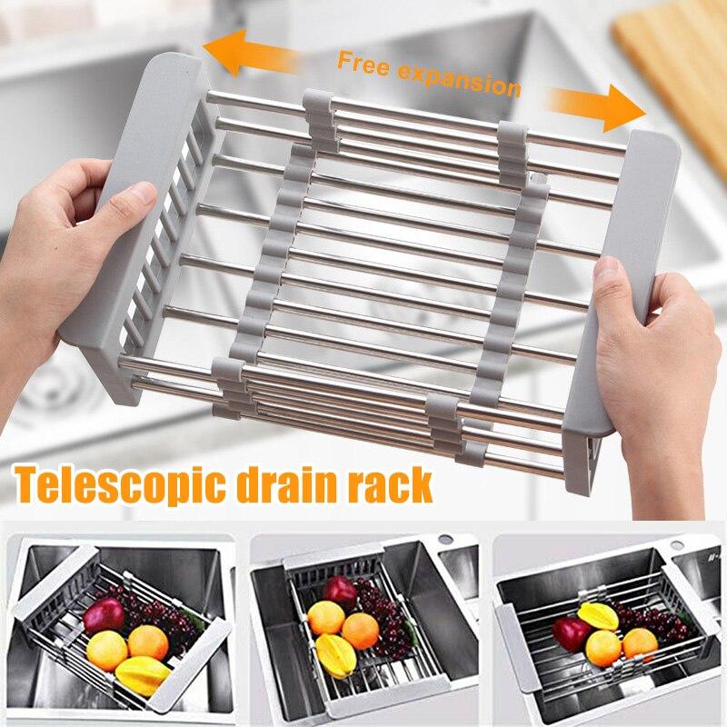 Aço inoxidável rack de pia telescópica drenagem cesta pratos secagem rack cozinha organizador b99