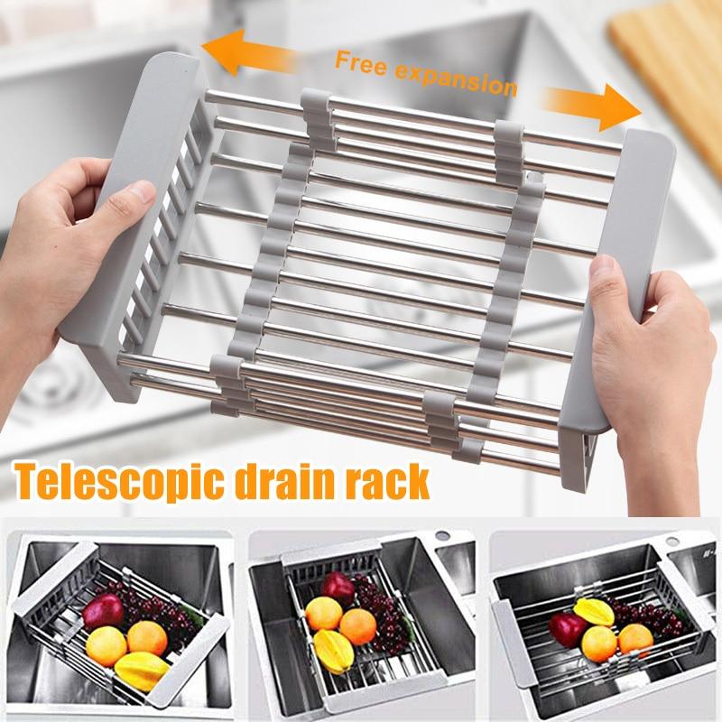 Стойка для раковины из нержавеющей стали телескопическая корзина для слива посуды сушильный шкаф-органайзер для кухни B99