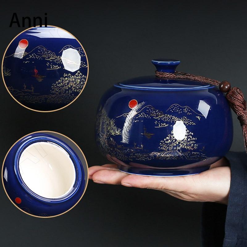 رسمت الإغاثة شاي سيراميك التخزين الصينية خمر تدفق الذهب الزخرفية مختومة أوراق الشاي المنظم طاولة القهوة الديكور