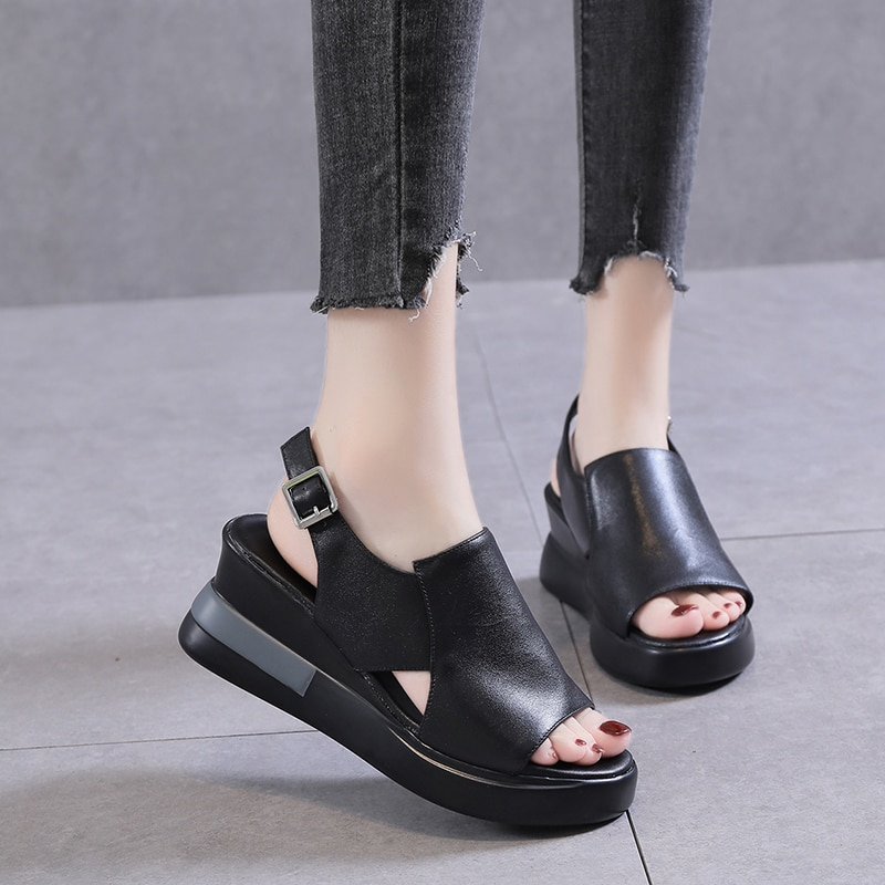 Summer Wedge Shoes for Women Sandals Solid Color Open Toe High Heels Casual Ladies Buckle Strap Fash