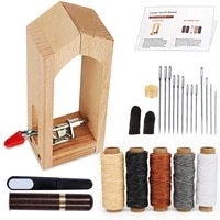 kaobuy 23pcs leather mini stitching pony for leather sewing clamp with leather needle and thread thread waxed