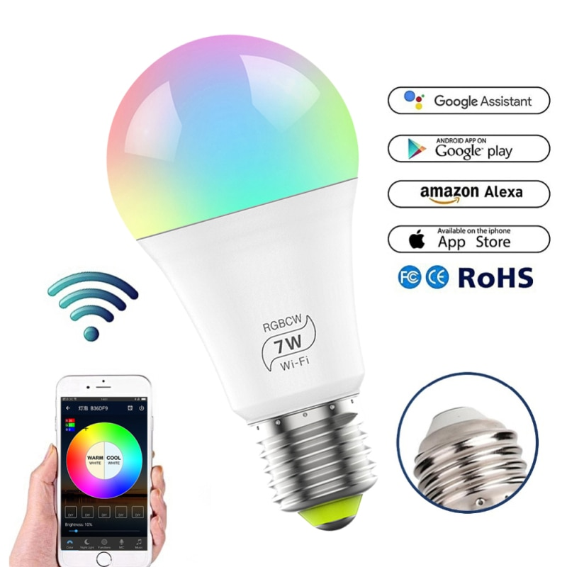Nexlux Wifi Smart LED Bombilla E27 7W regulable RGB Multicolor despertador luces funcionan con Alexa y Google Asistente de control de voz