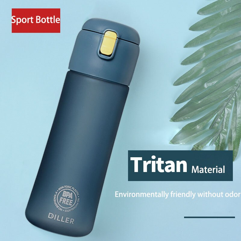 High-end plastic water bottle for sports travel fitness space water bottles with rope Tea compartmen