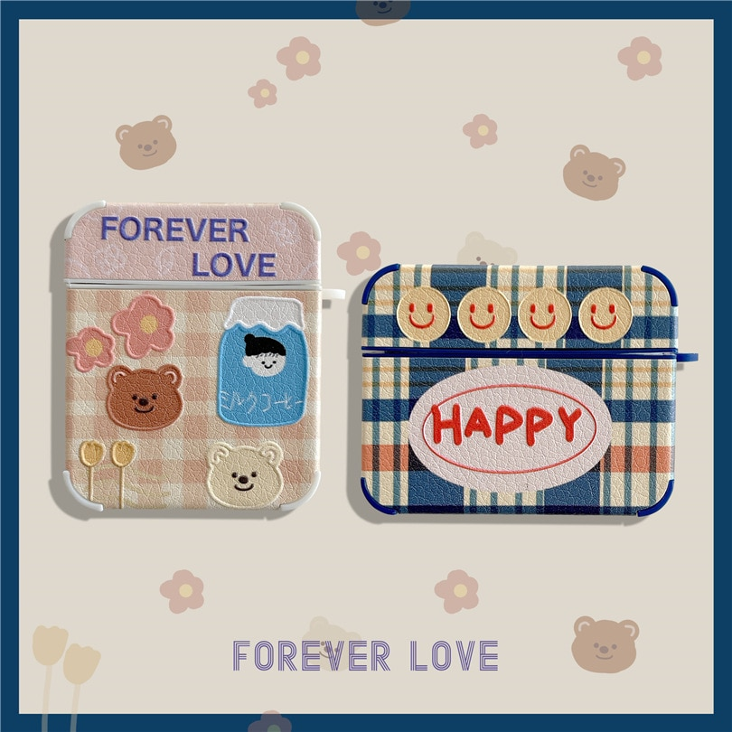 earphone case holder protective cover For Apple airpods 1/2/3 generation shell Bluetooth headset cute Smiley bear ins