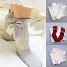 Infant Baby SocksNewborn Baby Girls Socks Summer Spring Mesh Socks Kids Bow Knee Tube Sock Sokken Pr