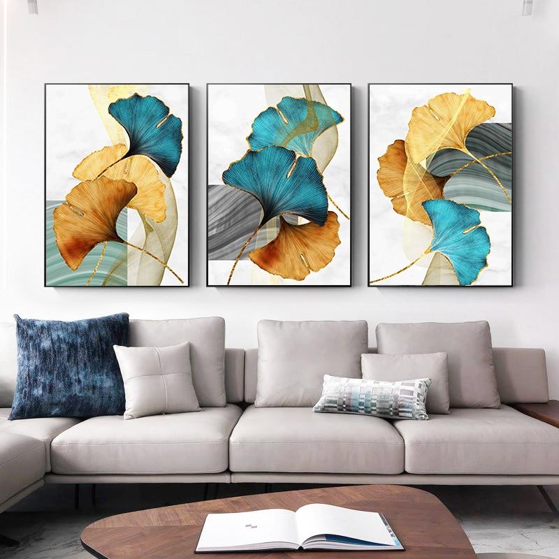 Amarelo de color Azul y verde para sala de estar, impresión moderna...