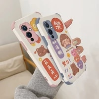 cartoon girl phone case for oneplus 9 9pro 8t 8 8pro four corners stick leather cover
