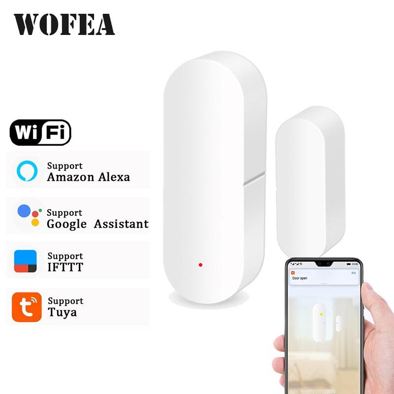 Детектор дверей/окон Wofea, Wi-Fi, уведомление через приложение, батарейка, датчик безопасности для дома, поддержка alexa google Home