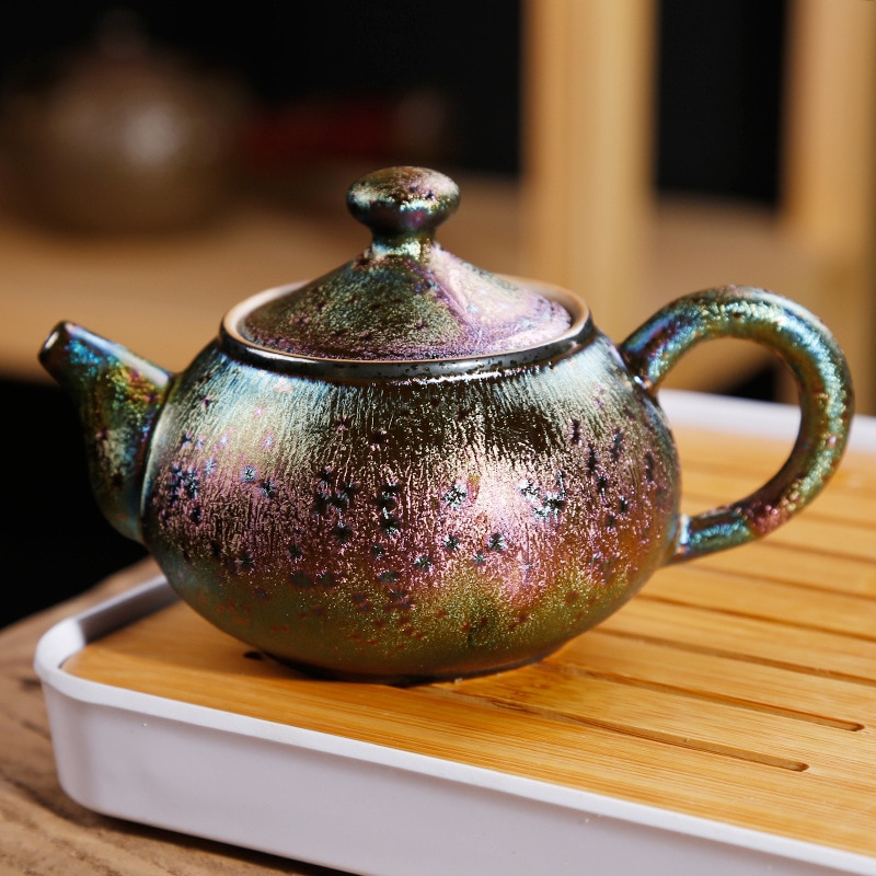 Tian mu you-كوب شاي على شكل طاووس ملون ، طقم شاي سيراميك ، للمنزل والمكتب ، إبريق شاي شاي shou zhua hu